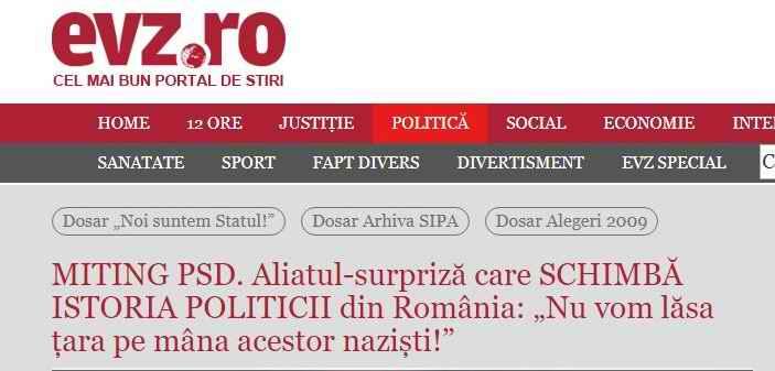 """Evenimentul Zilei: Aliatul-surpriză care SCHIMBĂ ISTORIA POLITICII din România: """"Nu vom lăsa țara pe mâna acestor naziști!"""""""