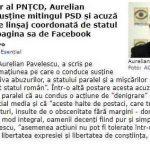 """Hot News: Actualul lider al PNȚCD, Aurelian Pavelescu, susține mitingul PSD și acuză o acțiune """"de linșaj coordonată de statul paralel"""" pe pagina sa de Facebook"""