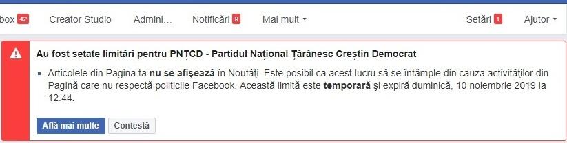 PNȚCD a fost blocat pe Facebook, în plină campanie electorală